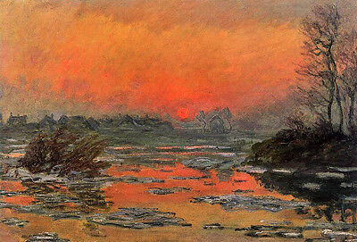 Dream-art Oil painting Claude Monet - Sunset on the Seine in Winter landscape