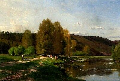 Perfect No framed Oil painting landscape Cows At The Edge Of A River in sunset