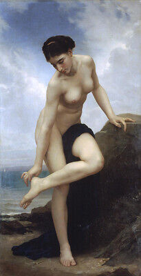 Large Oil painting Bouguereau - beautiful young girl after the bath by ocean 36""