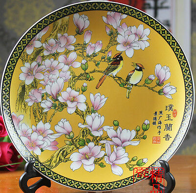 """Rare Big porcelain plate painted birds singing in peony tree & flowers sign 16"""""""
