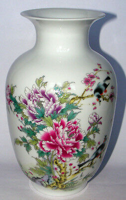 """9"""" Rare porcelain vase painted peony flowers and birds in spring free shipping"""