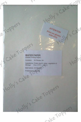 Edible Wafer Rice Paper Pack Packet A4 25 Sheets for edible photos decorations