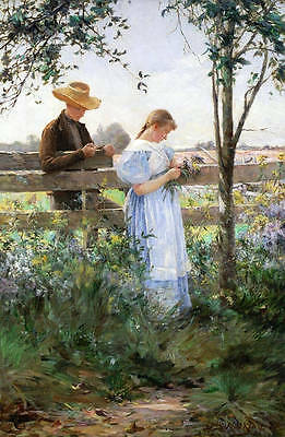 """Wonderful Oil painting young lovers in spring landscape with flowers canvas 36"""""""