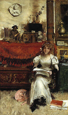 Beautiful huge Oil painting William Merritt Chase - Girl In the Studio on canvas