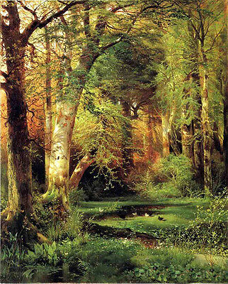 Oil painting Thomas Moran - Forest Scene with ducks in summer landscape canvas