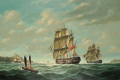 """Stunning Oil painting huge sail boats with ocean waves on canvas 24""""x36"""""""