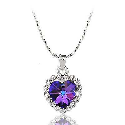 18K White GOLD Plated Purple HEART Womens Necklace SWAROVSKI CRYSTAL SL051 GIFT