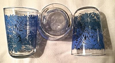 3 Classic Mid Century Modern Blue Floral 6 oz Libbey Juice Glasses Marked w L