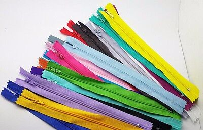 10pcs Colorful mix Nylon Coil Zippers Tailor Sewer Craft 9 Inch Crafter's