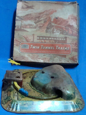 Old vintage winding Tin Tunnel Train toy with box from England 1960