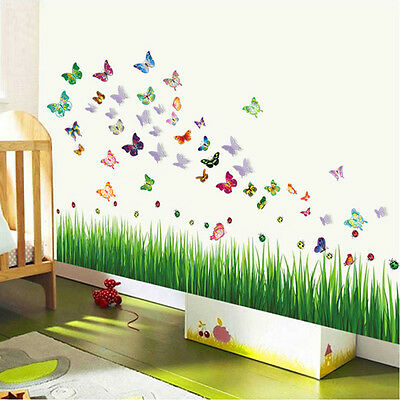 Wall Stickers Mural Decal Paper Art Decoration Ladybug Grass 3D Color Butterfly