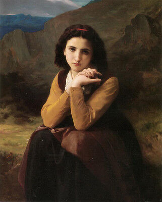 Nice Oil painting Bouguereau - Young lady portrait Mignon in sunset canvas 36""