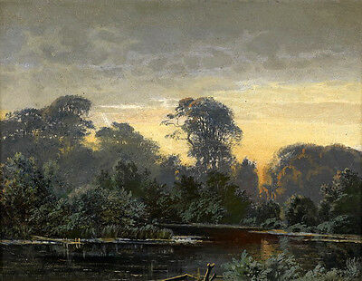 Oil painting summer landscape with green trees along the river in sunset