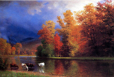 Art oil painting wonderful landscape with autumn tree cows by river On the Saco