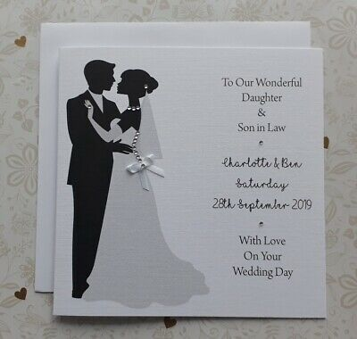 "Personalised 6"" Square Wedding Card inc Matching A6 Money Gift Card"