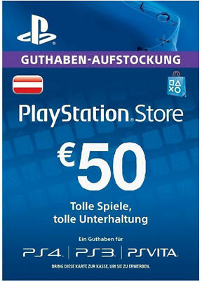 AT €50 EUR PLAYSTATION NETWORK Prepaid Card Karte PSN PS3 PS4 PSP Key Österreich