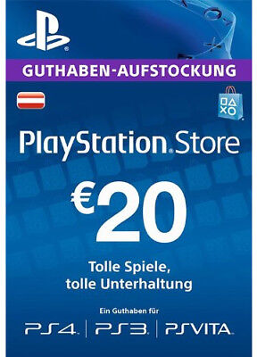 AT €20 EUR PLAYSTATION NETWORK Prepaid Card PSN PS3 PS4 PSP Key Österreich