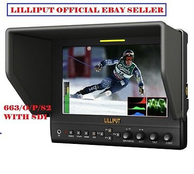 """Lilliput 7"""" 663/S2 1280X800 IPS Peaking Focus SDI In&Out+ HDMI IN&OUT +Waveform"""