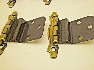 NOS VINTAGE LOT OF 10 PAIR  CABINET HINGES GOLD ANTIQUE  BRASS finish R