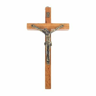 Vintage Wooden Metal Wall Cross Crucifix Holy Religious Carved Christ Natural