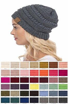 Brand New CC Beanie Womens Cap Hat Skully Unisex Slouch Color Cable Knit