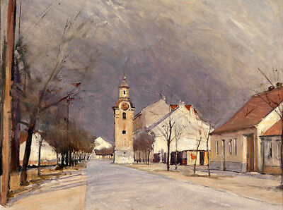 Excellent Oil painting old town landscape with church free shipping cost