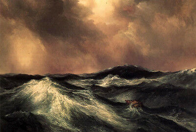 Large Oil painting Thomas Moran - Seascape The Angry Sea with Monstrous waves