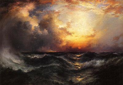 Large Oil painting Thomas Moran - Sunset in Mid-Ocean sun with huge waves canvas