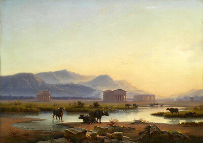 Excellent Oil painting cows cattles by the river in sunrise morning landscape