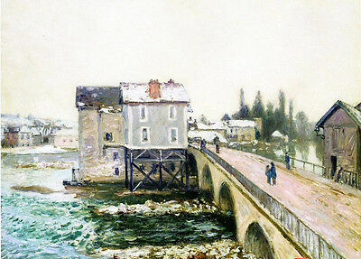 Huge Oil painting Alfred Sisley - The Bridge and Mills of Moret, Winter's Effect