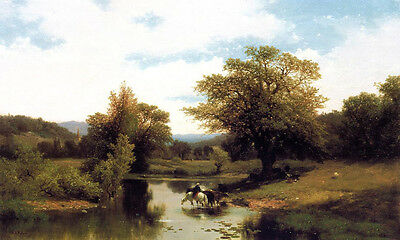 Huge Oil painting Albert Fitch Bellows - The Ford with horseman in river canvas
