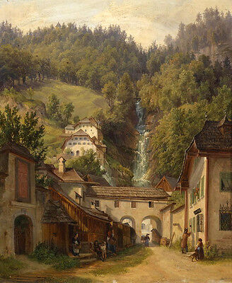 Excellent Oil painting nice village beside the mountains landscape with brook
