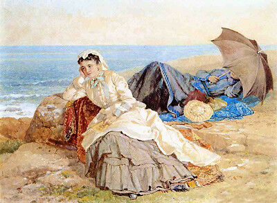 Huge Oil painting Albert Fitch Bellows Seaside Reflections young girls umbrella