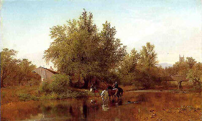 Huge Oil painting Albert Fitch Bellows - Family by the River landscape canvas