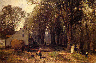 Huge Oil painting Albert Fitch Bellows - Country Life in autumn landscape canvas