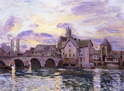 Huge Oil painting Alfred Sisley - The Bridge at Moret at Sunset landscape