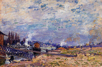 Oil painting Alfred Sisley - The Seine at Grenelle impressionism landscape 36""