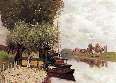 Oil painting Alfred Sisley - The Seine at Bougival & river no stretch and frame