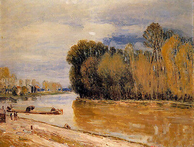 Stunning Oil painting Alfred Sisley - The Loing Canal impressionism landscape