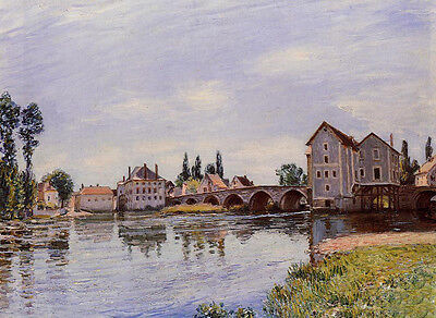 Perfect Oil painting Alfred Sisley - The Loing Flowing under the Moret Bridge
