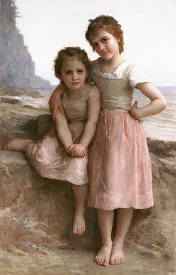 """Dream-art Oil painting Bouguereau - Young Girls Sisters On the Rocky Beach 36"""""""