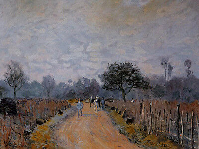 No framed Oil painting Alfred Sisley - The Road from Prunay to Bougival canvas