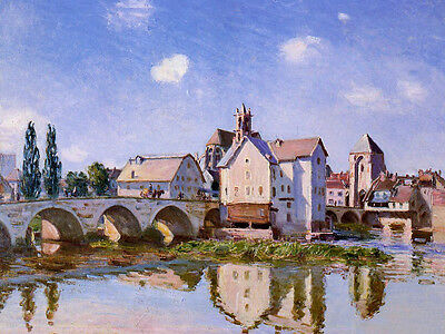 Perfect Oil painting Alfred Sisley - The Moret Bridge with houses in landscape