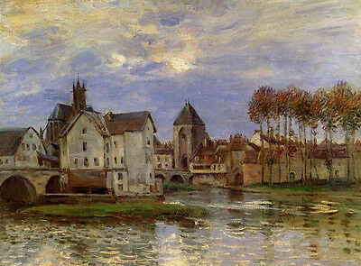 Perfect Oil painting Alfred Sisley - The Moret Bridge at Sunset with river view