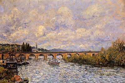Oil painting Alfred Sisley - The Sevres Bridge with ship on the river landscape