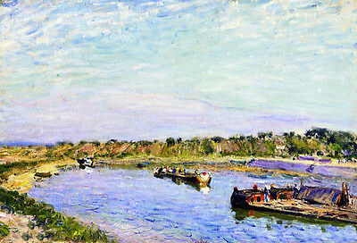 No framed landscape Oil Alfred Sisley - The Port of Saint Mammes, Morning canvas