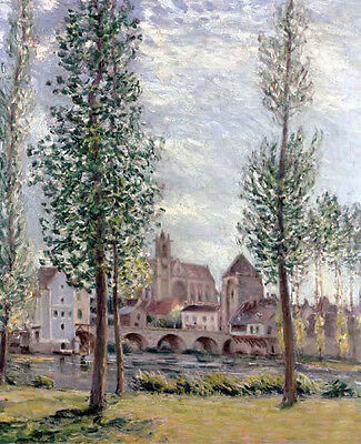 Oil painting Alfred Sisley - View of Moret-sur-Loing through the Trees canvas