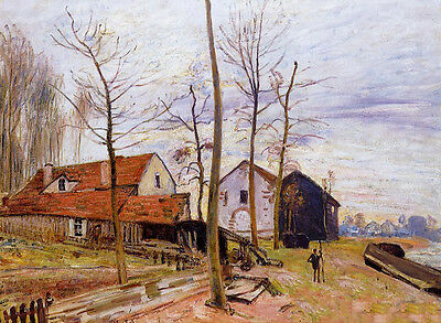 Perfect Oil painting Alfred Sisley - The Mills of Moret, Sunrise nice landscape