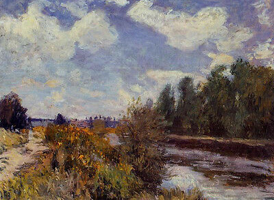 No framed Oil painting Alfred Sisley - The Seine at Bougival with river canvas