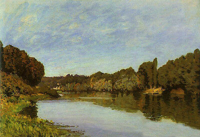 Oil painting Alfred Sisley - The Seine at Bougival & river at sunset no stretch